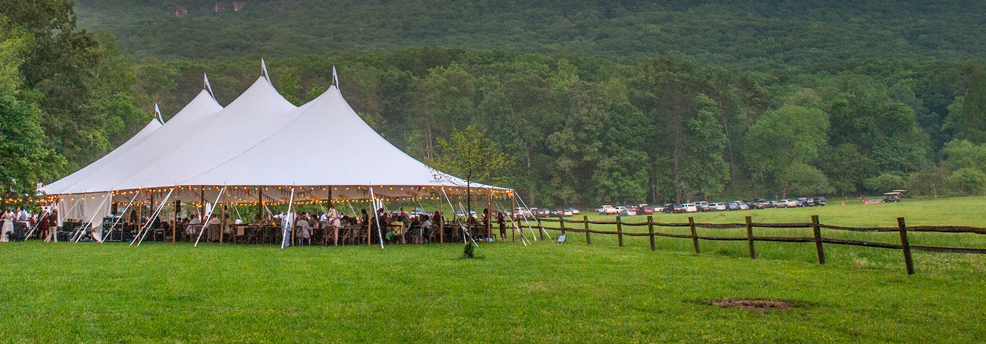 If you're looking for tent companies near me, Chattanooga Tent can help! This high peak tent was the perfect touch for this Chattanooga event.